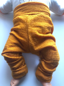 6-12+ months - Light Weight Golden Orange Wool Jersey Leggings Longies
