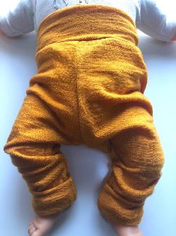 6-12+ months - Light Weight Golden Orange Wool Jersey Leggings Longies