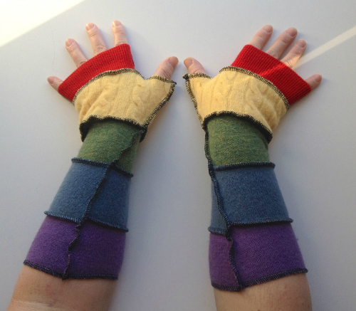 Rainbow Stripes Recycled Wool Arm Warmers