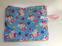 Kitty and Flowers Snack Bag /  Zipper pouch