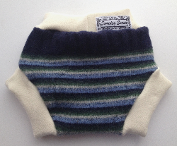 Medium Green and Navy Blue Striped Recycled Wool Soaker