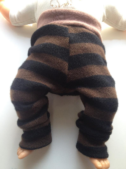 3-6+ months - Diaper Cover Wool Longies - Black and Brown Stripes Recycled Lambswool Longies - Small