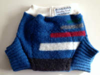 Large Blue Recycled Wool Soaker with Wool Interlock