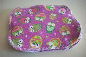 Sale -- Pink Owls Flannel and Cotton Sherpa Cloth Wipes