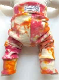 6-18 months - Diaper Cover Wool Longies - hand dyed Pink and Orange Wool Interlock - Medium