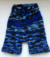 Hand Knit Blue Shorties, Diaper Cover