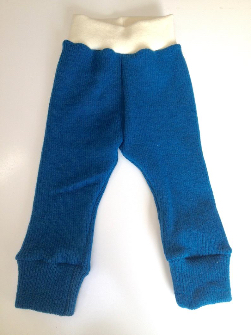 9-18 months - Dark Teal Diaper Cover Wool Longies - All new rib knit and interlock wool Pants