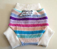 Small Girly Striped Recycled Wool Soaker with Wool Interlock