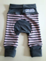 Pink and Grey Stripes Wool Interlock Jecaloones - Newborn - 0-6 months