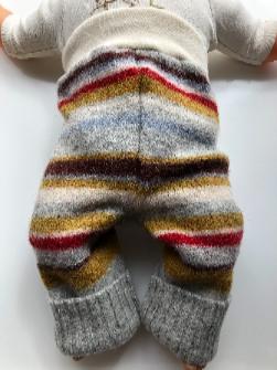 6-12 months - Grey, Maroon and Mustard Striped Longies - medium