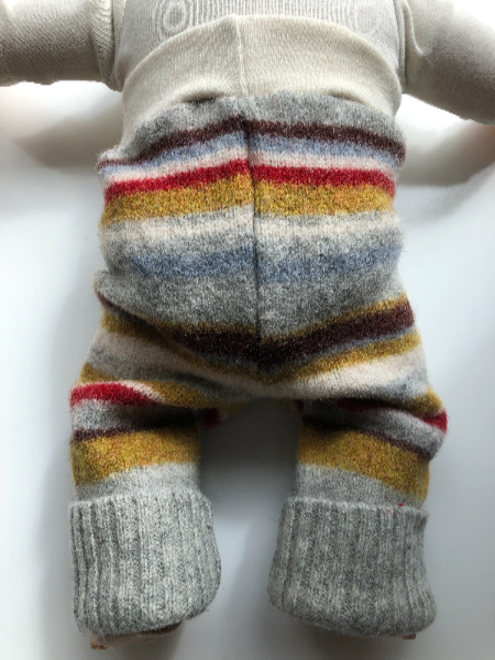 6-12 months - Grey, Maroon and Mustard Striped Longies - medium