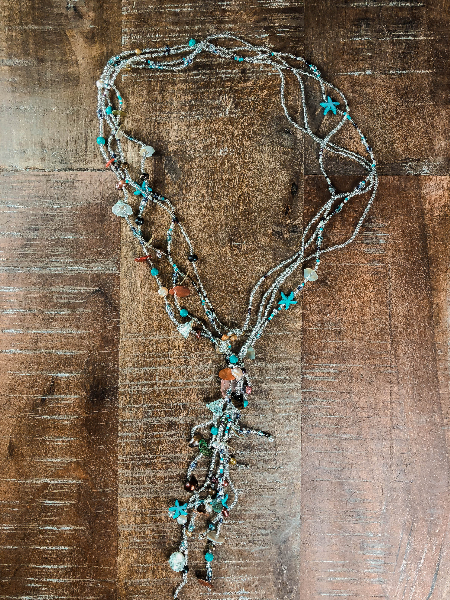 Glass Seed Bead Necklace with Freshwater Pearls