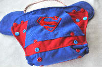 Superman inspired AI2 Side Snap with Cape, One Size (Size 2)(10-35lbs), Bamboo and Org Cotton Insert