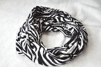 Infinity Scarf made from Stretch Poly Jersey Knit Zebra Wave Animal Print Fabric