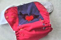 Heart and Wings with Stars AI2 Side Snap, One Size (10-35lbs), Bamboo and Cotton Inserts