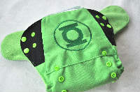 Green Lantern Inspired AI2 Side Snap, One Size (Size 2)(10-35lbs), Bamboo and Cotton Inserts