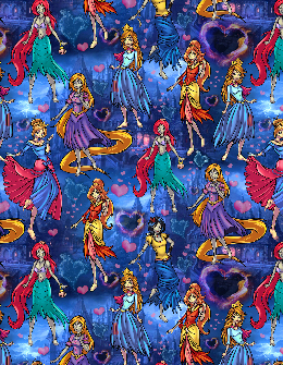 1yd Cut Custom Zombie Princess Fabric CL