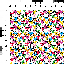 1yd cut Mini Scale White Looney Cotton Lycra Retail