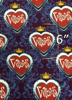 1yd cut Large Scale Villains Heart Damask Fabric Cotton Lycra