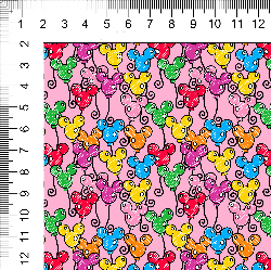 1yd cut Small Scale Pink Looney Cotton Lycra Retail