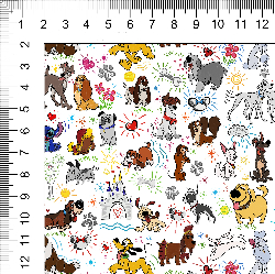 1yd Cut Small Scale Sketchy Dogs Cotton Lycra Fabric  Retail