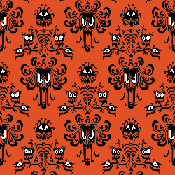 1yd Cut HM Wallpaper Orange Large Scale Cotton Lycra