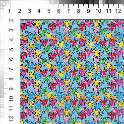 1yd cut Mini Scale Blue Looney Cotton Lycra Retail
