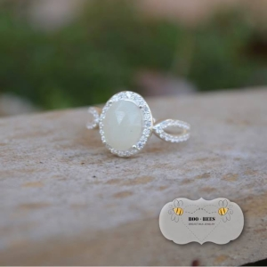CZ Encrusted Breastmilk Stone Ring (enamored collection)