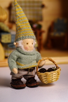 The set: gnome boy doll in wooden dollhouse with furniture and textile