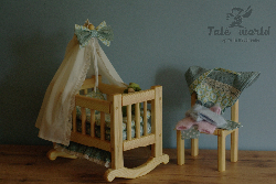 "Wooden doll's cradle with linen and baby sleeping clothes for dolls 8""-10"""
