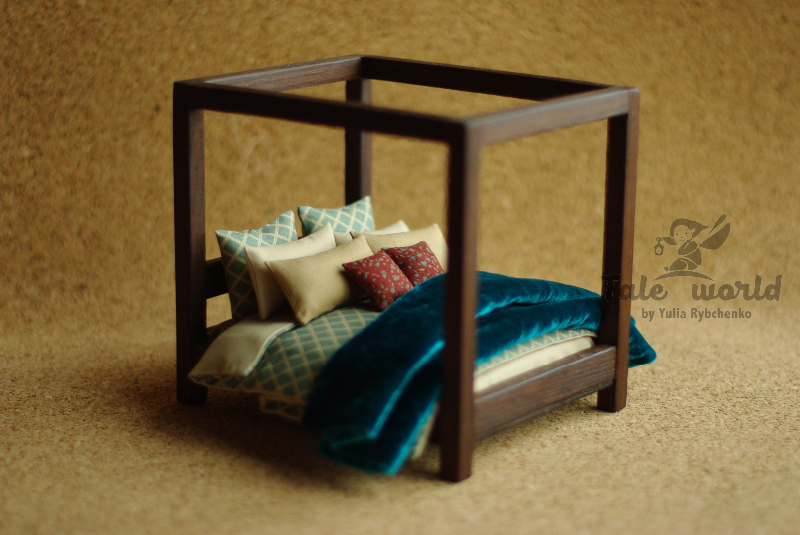Miniature wooden bed with bedding set. Scale 1/12. Dark