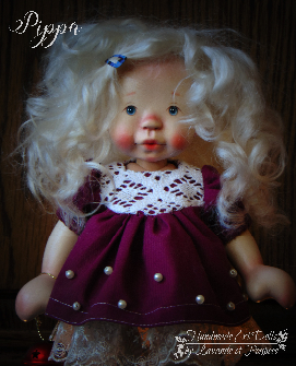 Pippa a 10inch Wooden Natural Fiber Art Doll by Lavande et Poupees!