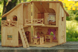 Wooden dollhouse set 1/16