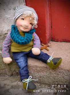 "Finch- 9/10"" natural fiber art doll"