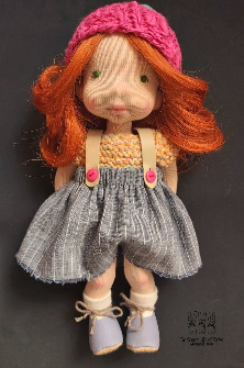 AMBER, 10'' tall, Natural Fiber Art Doll
