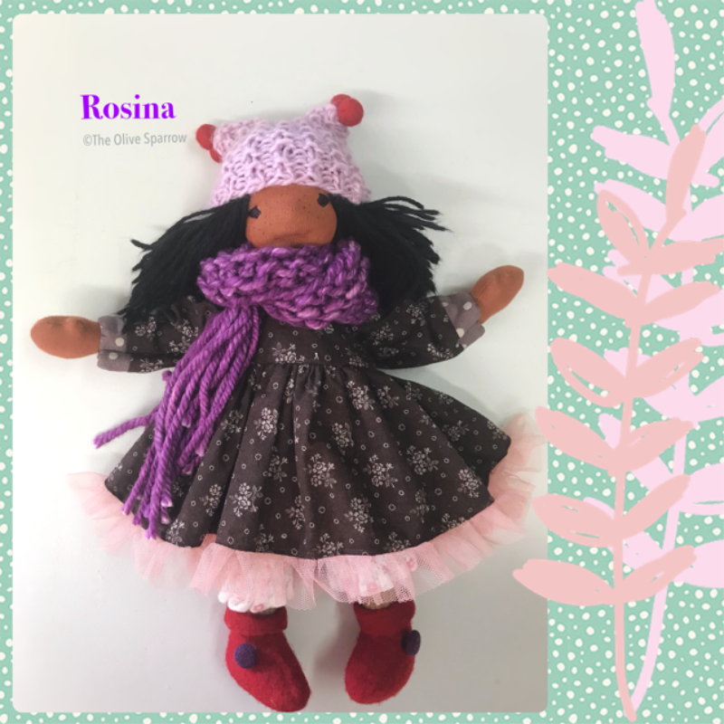 "Rosina - 12"" Natural Fiber Art Doll"