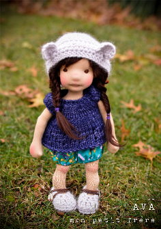 "Ava- 9/10"" natural fiber art doll"