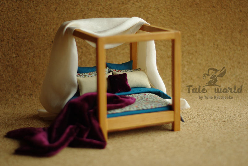 Miniature wooden bed with bedding set. Scale 1/12. Light