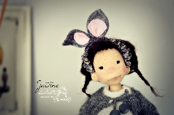 Justine, 8 inches, Natural Fiber Art Doll by LesPouPZ