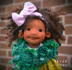 "Raven- 9""/10"" natural fiber art doll"