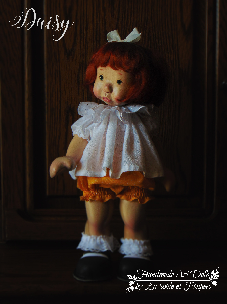 Daisy a 16inch Wooden Natural Fiber Art Doll by Lavande et Poupees