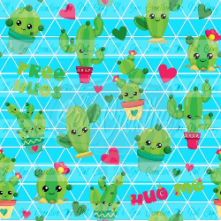 Blue Cacti- Swim (1 yd cut)