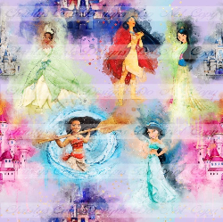 RETAIL - Watercolor Princesses 1 yard cuts