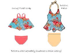 FEATURED - Brilliant Halter/Swing Swim Light Teal Floral