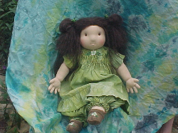 Broomstick Waldorf Doll Outfit hand dyed dress, bloomers, headband