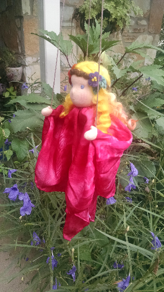 Autumn Garden Silk Marionette Puppet - Ready To Ship!