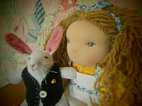 Alice In Wonderland and The White Rabbit Waldorf Doll, 2 sizes SPECIAL ORDER