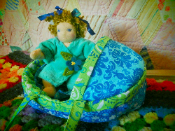Tiny Waldorf Baby Doll in a Moses Basket or Boat
