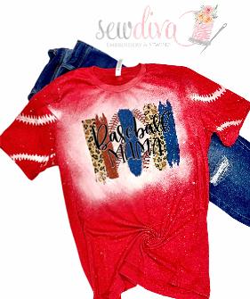 Custom Bleached Leopard Baseball Mama Shirt
