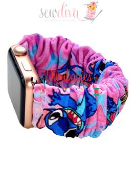 Custom Blue Alien on Pink Scrunchie Watch Band